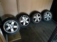 R16 4 stud rover mg car alloy wheels / gd tread 205 /50/r16 tyres