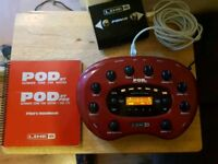 Line 6 pod xt guitar multi effects unit with fbv2 foot controller power supply and manual