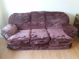 Burgundy 3 Piece Sofa Set