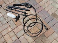Pressure washer hose, gun, 3 lances and snow foam attachment