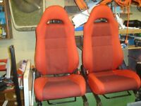 Toyota MR2 Mk3, red and black car seats plus door cards