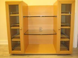 Hi Fi/Stereo Unit, Solid Beech Wood, Brand John E Coyle Ltd, W95 x H80 x D44cm.