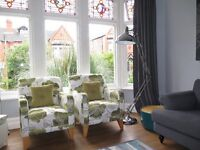 Pair 2 x Green Floral DFS Armchairs Chairs