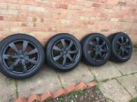 """Multifit 16"""" black alloy wheels vw golf Audi A3 seat 5x100 alloys"""