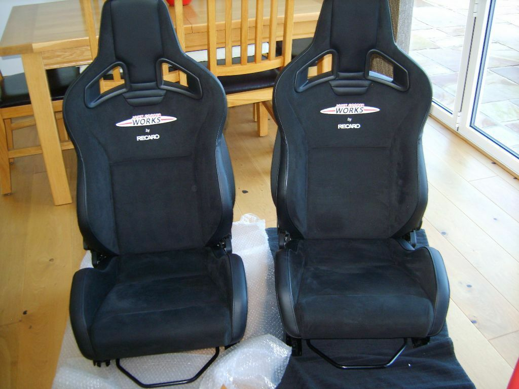 r56 r53 recaro leather alcantara front seats with runners in redditch worcestershire gumtree. Black Bedroom Furniture Sets. Home Design Ideas