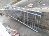 3x Galvanised Fence Panels / Railings with Fleur de lys