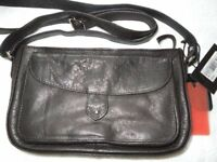 A Genuine Lloyd Baker Small Black Ladies Handbag With Large Pouch On The Front With A Magnetic Clip