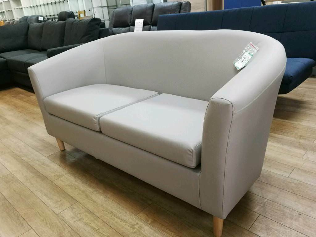 Grey Fabric 2 Seater Tub Sofa With Wooden Legs
