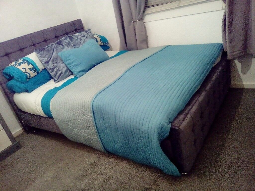 Double grey fabric bed