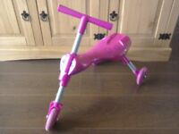 Scuttlebug Three wheeler Ride on Children's Toy Pink Collapses compact