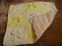 Beautiful Large 95cm x 95cm Hand knitted Cotton-Lined Baby Blanket. Pram, Cot.