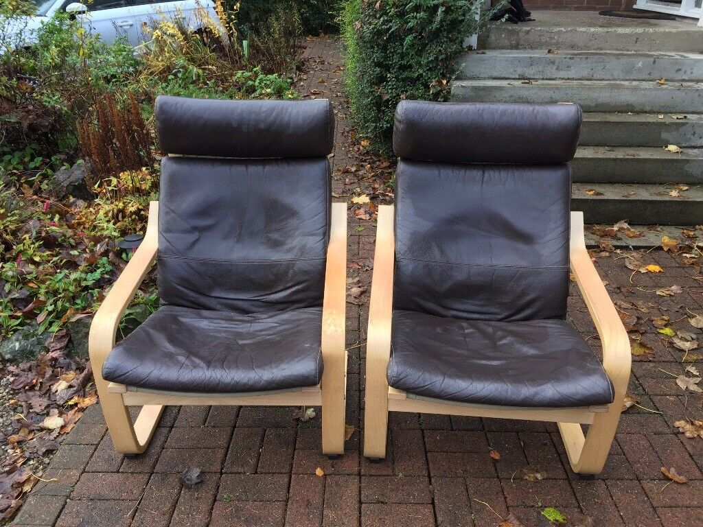 Leather Ikea chairs