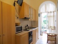 Ground floor SPLIT LEVEL bedsit with open plan kitchen and SHARED SHOWER/WC