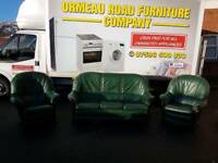 3+1+1 green leather sofa