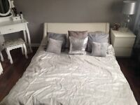 White faux leather double bed frame 4ft by 6ft