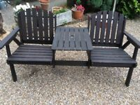 His - Hers Garden Seat with Centre Table