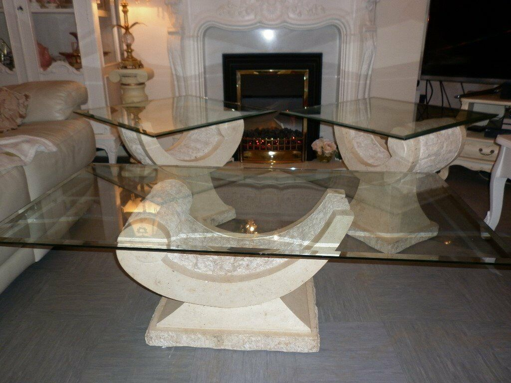 3 greek style glass and cream stone composite tables 2 for Cream glass coffee table