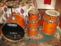 Mapex M Birch 6 Piece Drum Kit - Orange. With bags, hardware and cymbals!