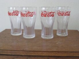 Coca Cola Glasses x 4 with red lettering