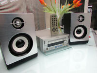 SONY MDS-SD1 CD PLAYER AMP AMPLIFIER AM/FM RADIO + SILVER SPEAKERS + Remote control