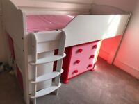 Girls bedroom furniture - A-Space bed, mattress, chest of drawers and small cupboard