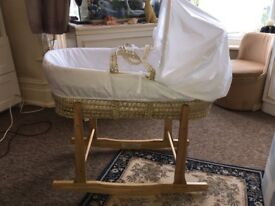 Moses basket and rocking stand for sale
