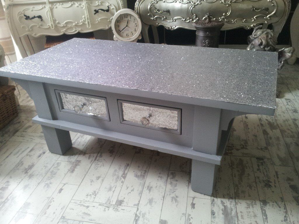 Coffee table unit silver sparkle glass handles coffee table unit silver sparkle geotapseo Images