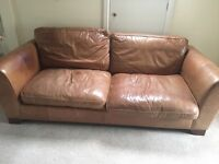 Marks and Spencer leather sofa and armchair