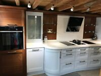 EX-DISPLAY KITCHEN – STONEHAM STRATA WALNUT & LACQUERED BLUE ASHES Units and Corian worktops £5,850