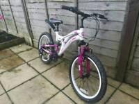 Girls Pink and White Muddyfox Bike