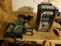 Makita radio with combi drill,charger and 3 amp battery
