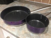 New Purple Morphy Richards Frying Pan and Saucepan