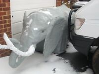 LARGE FIBREGLASS ELEPHANT,GARDEN FEATURE,TALKING POINT,SHOPDISPLAY ETC.