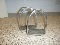 Pair of stainless steel 5-inch stirrup irons with rubber grip