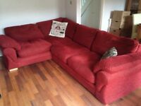Red L-shape sofa bed