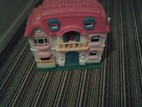 Foldable house for sale with furniture and figures included