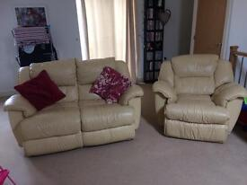 2 seater + 1 seater recliner cream real leather sofas
