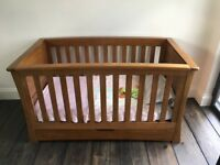 Mamas and Papas Ocean Cot/Bed in solid Oak