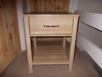 Oak colour table with drawer and shelf