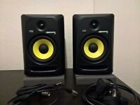 KRK rokit 6 G3 pair, isolation pads, gorilla monitor stands and cables.