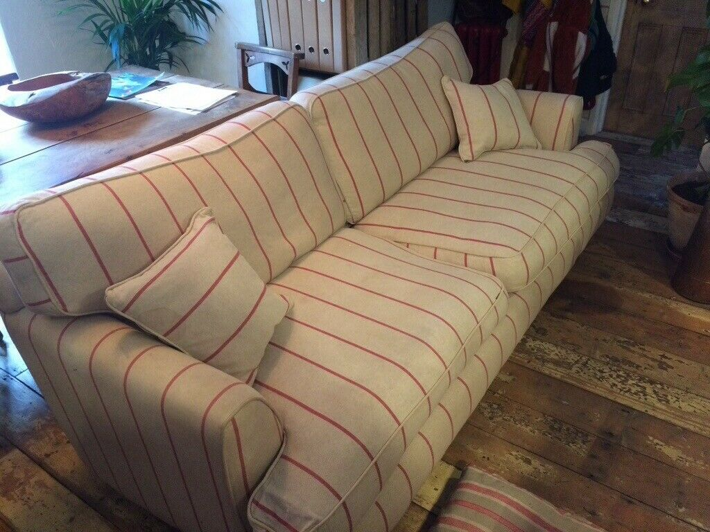 Sofa workshop 3 seater sofa (originally £1500) in oatmeal and red striped  fabric with two cushions. | in Clifton, Bristol | Gumtree