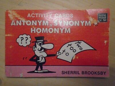 Antonym   Synonym   Homonym Activity Cards By Brooksby  Sherril
