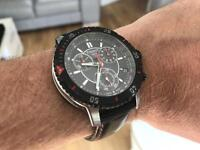 Tissot leather sports watch with crystal sapphire glass