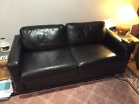 Black Leather Double Sofa Bed