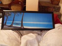 """beautiful glass fronted framed tropical beach picture... 39"""" x 15""""...excell cond"""