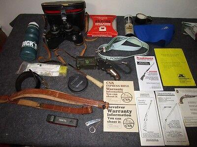 Big Lot Vintage Hunting Gear Game Calls Binoculars Gun Sling Bow Release Stove