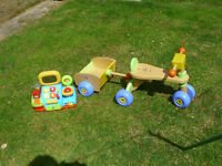 EARLY LEARNING CENTRE FIRST SIT n RIDE WOODEN TRIKE AND TRAILER + SHOP