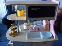 ELC WOODEN PLAY KITCHEN WITH ACCESSORIES, USED BUT GOOD CONDITION