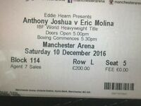 Anthony Joshua tickets 12 rows up centre of ring iv got 4 sat together face value tickets