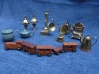 Collection of brass and pewter miniatures, wooden train, for display or dolls house